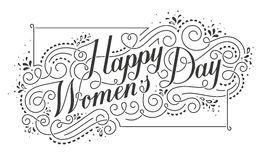 Happy Womens Day Calligraphic Text Design Element. Royalty Free Stock Photography
