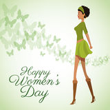 Happy womens day card beauty girl green dress Royalty Free Stock Photography