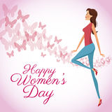 Happy womens day card butterfly decorated background Stock Images