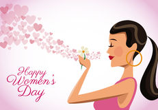 Happy womens day card cute girl flower heart flying. Vector illustration eps 10 Stock Photos