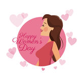 Happy womens day card girl brunette pink hearts image Stock Images