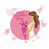 Happy womens day card girl flower pink hearts image. Vector illustration eps 10 Stock Image