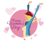 Happy womens day card girl funny pink hearts image Royalty Free Stock Photos