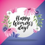 Happy Womens Day card. With flowers and butterflies vector digital illustration image stock illustration