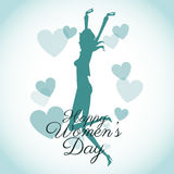 Happy womens day card-silhouette girl blue hearts Stock Image