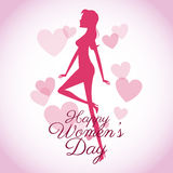 Happy womens day card-silhouette girl pink hearts Royalty Free Stock Photo