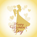 Happy womens day card-silhouette girl yellow hearts Royalty Free Stock Image