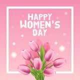 Happy Womens Day Card. Tulip and frame. Vector illustration Stock Image