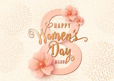 Happy womens day celebration background design with light pink flowers. 8 march. Stylish light gold greeting card with cherry blossoms paper art. Spring vector royalty free illustration
