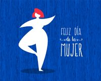 Happy womens day cute spanish greeting card. Happy Women`s day greeting card illustration in spanish language with girl dancing and typography text quote. EPS10 Stock Image