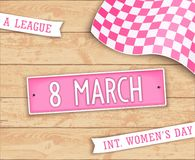 Happy Womens Day design. Festive poster for the 8th March. Realistic label in style car license plate. Top view. Vector illustration stock illustration