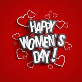 Happy Womens Day. Design With Hearts On Red Backgroundvector illustration Stock Illustration