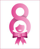 Happy womens day eight girl bow design Royalty Free Stock Images
