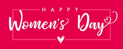 Happy Womens Day elegant lettering pink banner. Invitations for the International Women`s Day, 8 March with calligraphy text and heart in frame royalty free illustration
