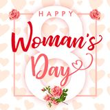 Happy Womans Day March 8 elegant lettering pink banner. Happy Womens Day elegant lettering pink hearts and rose banner. Invitations for the International Women`s Stock Photography