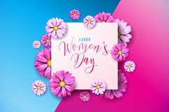 Happy Womens Day Floral Greeting Card Design. International Female Holiday Illustration with Flower and Typography Royalty Free Stock Images