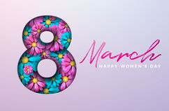 Happy Womens Day Floral Greeting Card Design. International Female Holiday Illustration with Number Silhouette, Flower Stock Photos