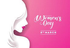 Happy Womens Day Floral Greeting Card Design. International Female Holiday Illustration with Women Silhouette and vector illustration