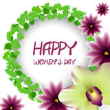 Happy womens day frame lillac flower orchid Royalty Free Stock Photo