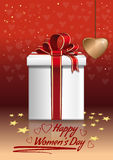 Happy Womens Day. Gift box on a red background with hearts. Vector Womens Day greeting card Royalty Free Stock Images