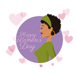 Happy womens day girl curly hair card purple hearts image Stock Photo