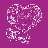 Happy womens day girl greeting concept purple background Royalty Free Stock Photo