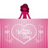 Happy womens day girl heart lettering. Illustration eps 10 vector illustration