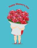Happy womens day. Girl holds  large basket of flowers.  Stock Photo