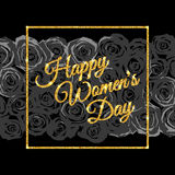 Happy Womens Day. Gold. Inscription Happy Women's Day. Gold glitter. Illustration Stock Images