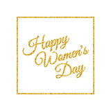Happy Womens Day. Gold. Stock Photos