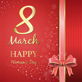 Happy Womens Day. Gold lettering on a pink festive background. International Womens Day card Royalty Free Stock Images