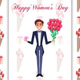 Happy Womens Day Greeting Card with Man in Tuxedo. And bowtie holding bouquet of roses and pink diamond on tulip seamless pattern vector illustration vector illustration