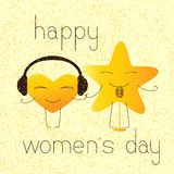 Happy womens day greeting card with musical characters Royalty Free Stock Images