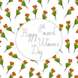 Happy womens day greeting card. Seamless pattern with bouquets of orange tulips and calligraphic lettering 8th march Happy womens day in white colored oval with stock illustration