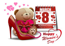 Happy Womens Day greeting card with women shoe, calendar, pink beads, teddy bear. 8 March. Happy Womens Day. 8 March. Greeting card with women shoe, calendar Royalty Free Stock Photo