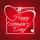 Happy Womens Day. Greeting inscription. 8th March. Lettering in a frame in the shape of heart Stock Photos