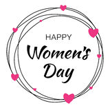 Happy Womens Day hand drawn typographic lettering with scribble circle on white background with pink hearts flower. Happy Womens Day hand drawn typographic Royalty Free Stock Image