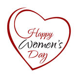 Happy Womens Day. Hand lettering on the background framework of hearts Royalty Free Stock Images