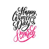 Happy Womens day handwritten lettering in vector for greeting card,invitation,banner etc.Vintage calligraphy 8 of March. Happy Womens day handwritten lettering vector illustration