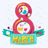 Happy Womens Day. Banner. 8 March Lettering with birds and flowers. Vector royalty free illustration