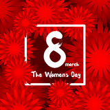 Happy womens day. International Happy Women's Day - 8 March, background with paper cut red Flowers, Trendy Design Template Stock Photos