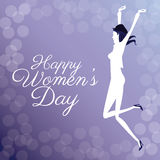 Happy womens day- jumping girl poster bubbles background Royalty Free Stock Photo