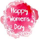 Happy Womens day lettering with floral frame. On pink color splash background vector illustration