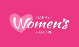 Happy Womens Day lettering on pink purple background with pink heart flower. Vector Illustration of a greeting card. Royalty Free Stock Photos