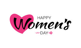 Happy Womens Day lettering on white background with pink heart flower. Vector Illustration of a greeting card. Royalty Free Stock Image