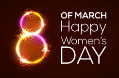 Happy womens day. 8 march. Bright 3d banner on dark red backdrop. Neon circles with glow and firework. Greeting card for Internati. Onal women day design. Neon vector illustration