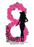 Happy womens day. 8 march Design with girl and roses. International Womens Day Background.  Stock Images