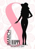 Happy womens day. 8 march Design with girl and roses. International Womens Day Background.  Royalty Free Stock Photos