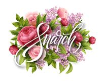 Happy womens day on March 8. Design of modern hand calligraphy with flower. Vector illustration vector illustration