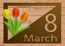 Happy womens day on March 8. Design of modern handmade with flowers tulip and copy space on white wooden background for greeting c Stock Photo